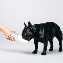 Load image into Gallery viewer, White Thirsty Dog Bottle Dog Drinking
