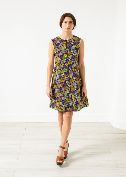 Triangle Sleeveless Dress in Multi