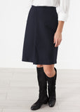 Pleated Wool Skirt in Navy