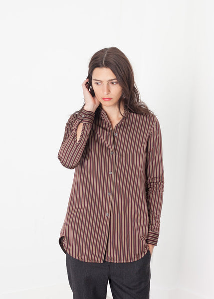 Sheen Button-Up in Red/Tan