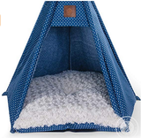 Pickle & Polly - Dog Bed Teepee/Tent for Dogs & Cats - Stylish, Soft, Cozy Dog Bed w/Thick Plush Pad, Durable Fabric & Machine Washable