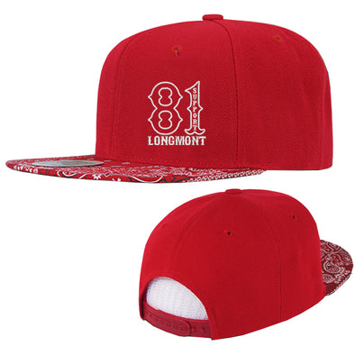 Bandanna Snapbacks, Red/Red