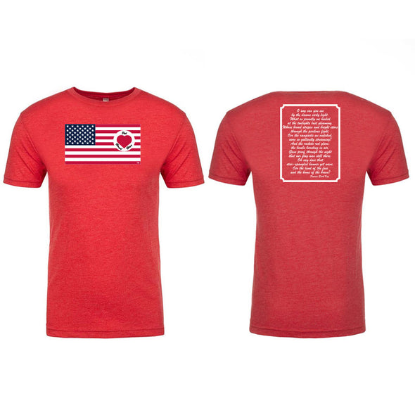 Heart on Flag - 100% American Made Tri-blend Crew