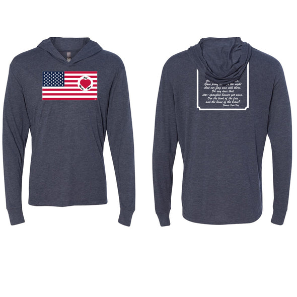 Heart on Flag - Unisex Tri-blend LS Hoodie