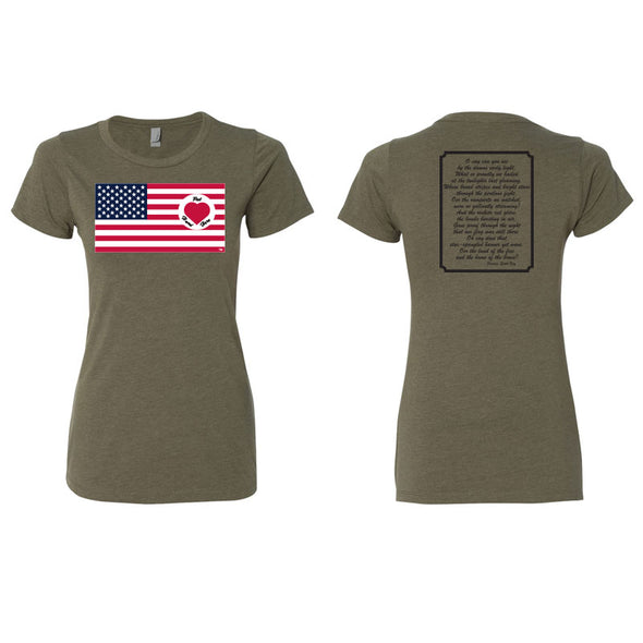 Heart on Flag - Womens CVC Tee