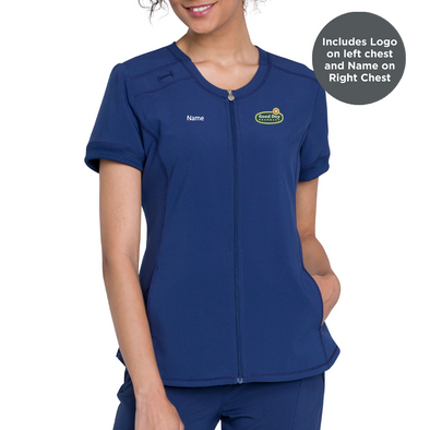 Zip Front Antimicrobial V-Neck Top