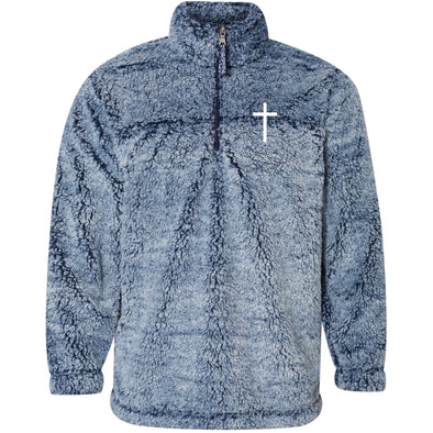 Cross - Unisex Sherpa Fleece Quarter-Zip Pullover