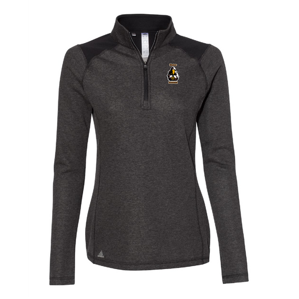 Adidas - Women's Heathered Quarter Zip Pullover with Colorblocked Shoulders