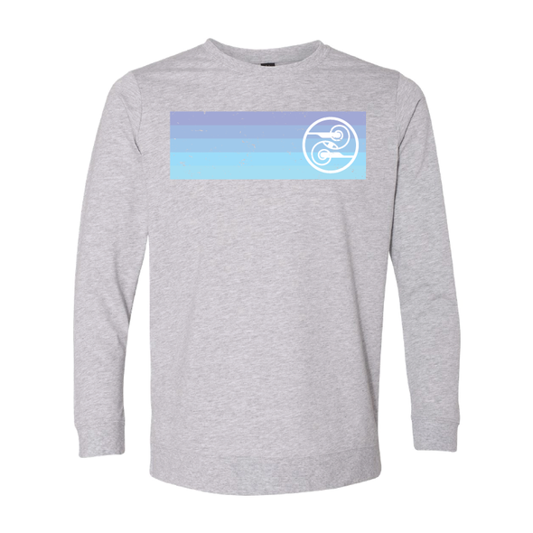Anvil - Unisex Lightweight Terry Sweatshirt - Blue Stripe Logo