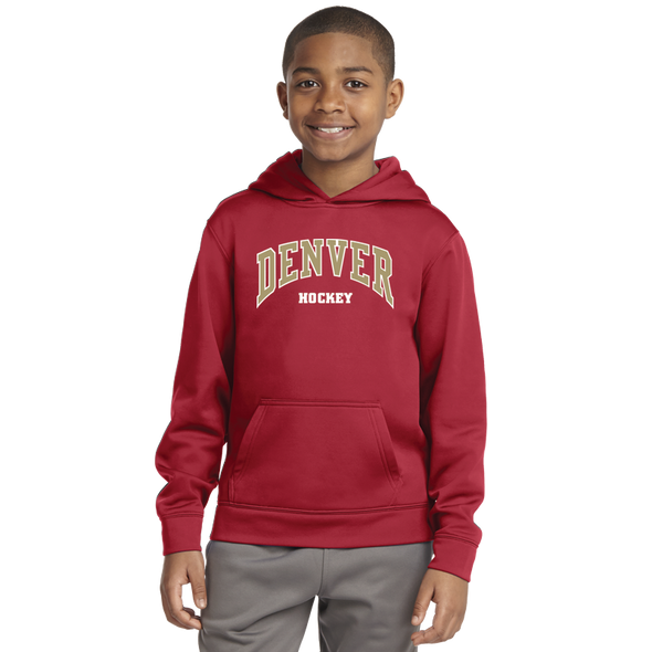 Denver Hockey Youth Deep Red Pullover Hoodie