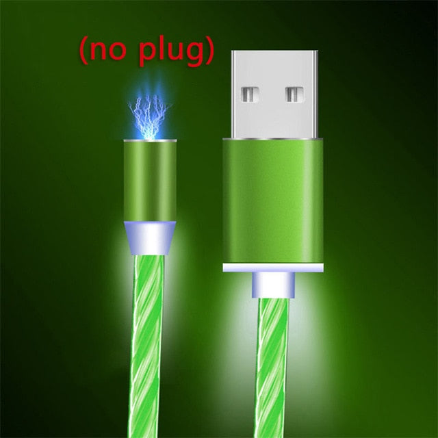 Magnetic LED Light Cable Fast Charging Magnet Micro USB Type C Cable for iphones