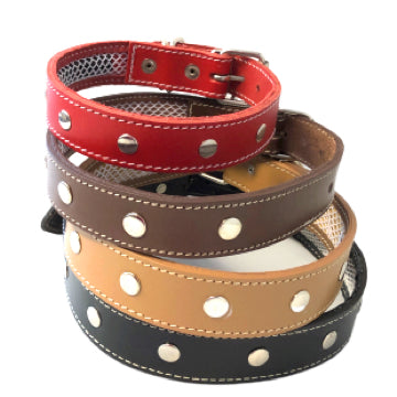Leather Dog Collars with Inner Mesh to Protect Flea/Calming Collars - rovers-kit