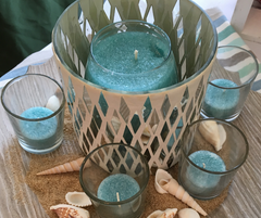Candlescape centerpiece with blue scented candles in Chesapeake Bay Coastal Shoreline scent