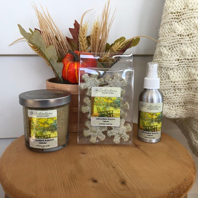 Adirondack Autumn Leaves 10 oz candle, wax tarts, and room spray