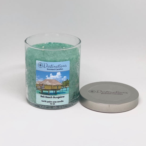 Bali Beach Bungalow 10 oz candle, wax tarts, and room sprays