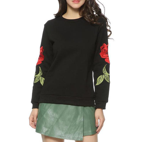 Women's Embroidery Floral Pullover Vintage O-Neck Casual Sweatshirts-sweatshirt-PMS-Black-s-Gofiala