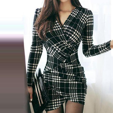 Sexy V-Neck Plaid Mini Bodycon Dress-Bodycon Dress & Work Dress-PMS-Black-s-Gofiala
