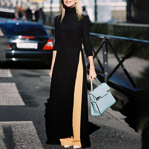 Fashion Pure Color Open Long Sleeves Maxi Dress-Maxi Dress-PMS-Black-m-Gofiala