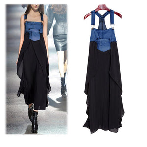 Fashionable Chiffon Skirt Loose Denim Maxi Dress-Shift Dress-PMS-Black-m-Gofiala