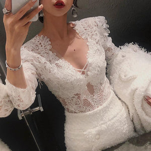 Sexy Deep V Lace Hollow Out Long Sleeve Shirt-T-shirt-PMS-White-s-Gofiala