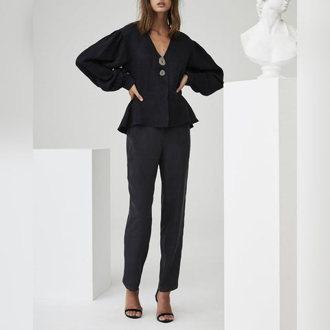V-Neck Ruffled Lantern Sleeves Trouser Suit