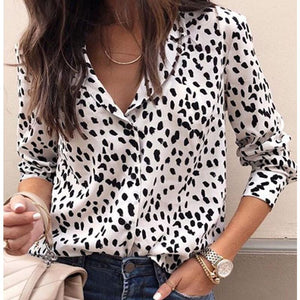 Turn Down Collar Leopard Blouses-Blouse-PMS-White-s-Gofiala