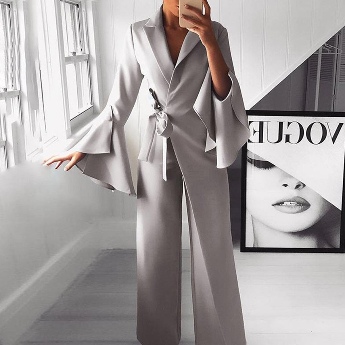 Fashion Pure Colour Bell Sleeve Jumpsuits-Jumpsuit-PMS-Gray-l-Gofiala