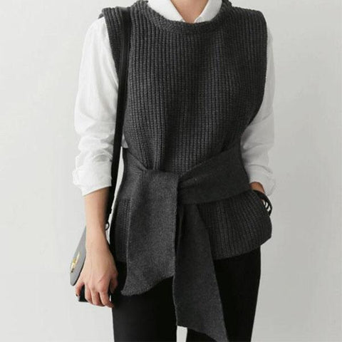 Casual Simple Waistband Shown Thin Knitted Waistcoat Sweater-Sweater-PMS-Gray-one size-Gofiala