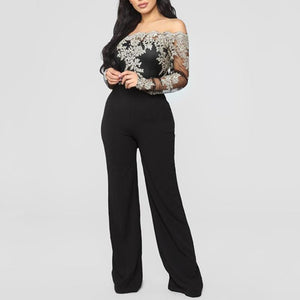 Sexy One Word Neck Off The Shoulder Lacy Embroidered Wide Leg Jumpsuit-Jumpsuit-PMS-Gold-s-Gofiala