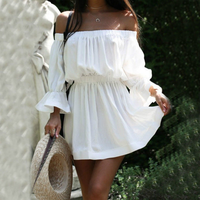 Sexy Off Shoulder Pure Color Beach Vacation Dress-vacation dress & mini dress-PMS-White-s-Gofiala