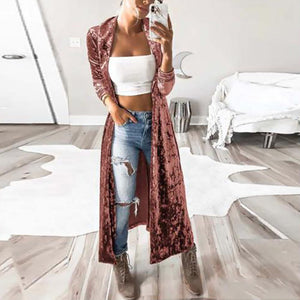 Long Sleeves Extended Velvet Trench Coat Cardigan-Cardigan-PMS-Pink-s-Gofiala