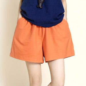 Loose Cotton And Linen Sport Casual Shorts-Shorts-PMS-Orange-s-Gofiala