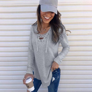 V Neck Lace Up Plain T-Shirts-Shirt-PMS-Gray-m-Gofiala