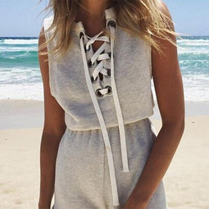 Summer Sleeveless Beach Bandage Shorts Playsuit-playsuit-PMS-Light Gray-s-Gofiala