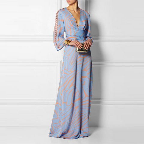Sexy V Neck Long Sleeves Maxi Dress-Maxi Dress-PMS-Same As Photo-s-Gofiala