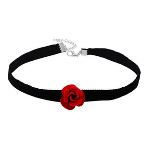 Velvet Rose Choker Necklace-Jewelry-PMS-Red-one size-Gofiala
