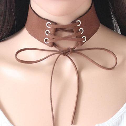 Lace Up Boho Choker Necklace-Jewelry-PMS-Dark Brown-one size-Gofiala