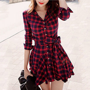 Plaid Bowknot Flared Shirt Dress-Skater Dress-PMS-Claret Red-2xl-Gofiala
