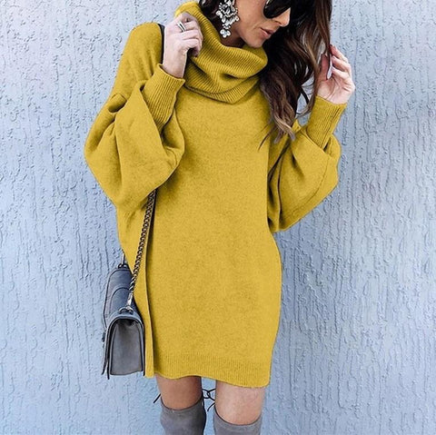 Casual Loose long high collar knitting sweater Mini dress-Maxi Dress-PMS-Yellow-s-Gofiala
