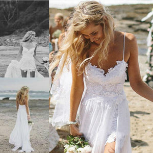 Lace Sling Wedding Party Dress-Vacation Dress-PMS-White-s-Gofiala