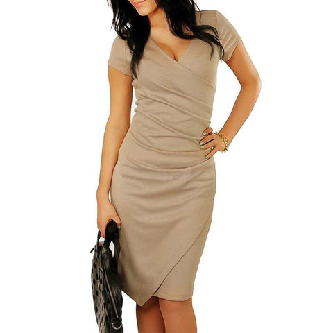 Sexy V-Neck Cross Split Bodycon Dress-Bodycon Dress-PMS-Khaki-s-Gofiala