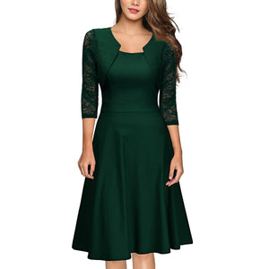 Retro Square Collar Splicing Lace Skater Dress-skater dress-PMS-Green-s-Gofiala