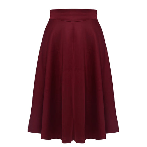 Solid-Color High Waist Big Swing Skirt-Skirt-PMS-Wine Red-s-Gofiala