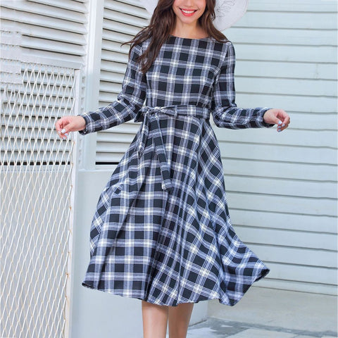 Plaid Bow Tie Evening Dress-skater dress-PMS-Black-s-Gofiala