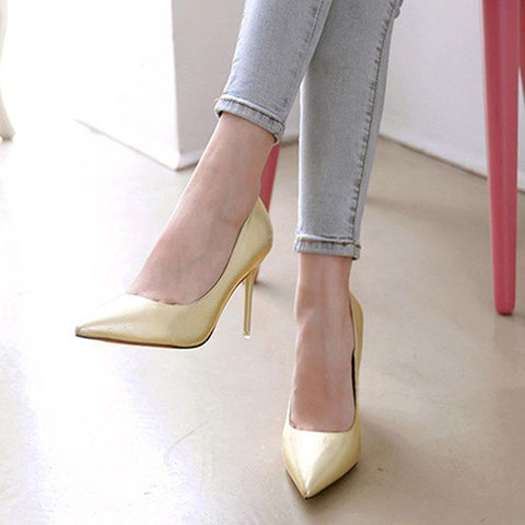 Elegant Solid-Color PU Wedding Party High Heel-Pump-PMS-Pink-34-Gofiala