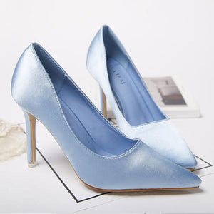 Satin Shallow Mouth Wedding High Heels-Pump-PMS-Blue-34-Gofiala