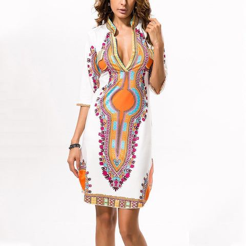 National High Stretch Printed Slim V Collar Vacation Dress-vacation dress-PMS-White-s-Gofiala