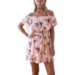 Casual Floral Printed Vacation Dress-vacation dress & mini dress-PMS-Pink-s-Gofiala