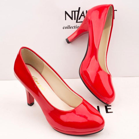 Elegant Slim Heel PU Wedding Party Shoes-pumps-PMS-Red-35-Gofiala