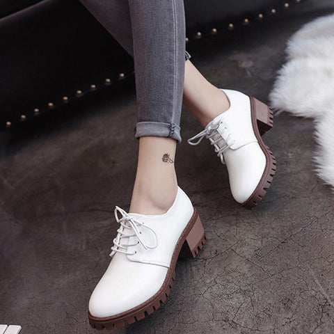 Thick Bottom Tie Round Head Rough Mid Heel Leather Shoes-Flat-PMS-White-35-Gofiala